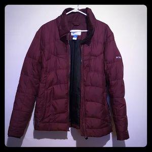 Columbia burgundy down puffer jacket XL
